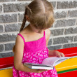 Stock Photo: Girl reading book on bench 5044