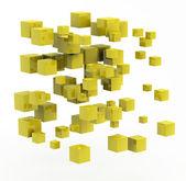 3d abstrakcyjny kształt wykonane z kostki złote — Zdjęcie stockowe