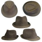 茶色の帽子のセット — ストック写真
