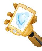 Gold pda mit cloud computing — Stockfoto