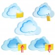Set of 3d cloud computing icon with folders and arrows — Stock Photo #12414273