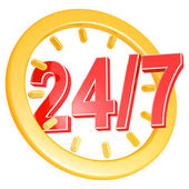 Twenty four hour seven days a week service sign — Stock Photo