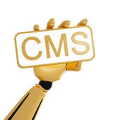 Golden robotic hand hold the plate with word CMS — Stock Photo