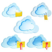 Set of 3d cloud computing icon with folders and arrows — Stock Photo