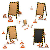 Under construction. wooden boards with traffic cones. — Stock Photo