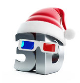 3d movie Christmas hat — Stock Photo