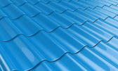 Roof metal tile blue — Stock Photo