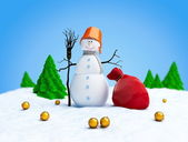 Snowmen bag fir tree on a white background — Foto Stock