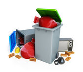 Santa bag thrown in the trash — Foto Stock