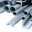 Metal pipes, angles squares — Stock Photo