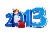 Snowmen new year 2013 — Stock Photo