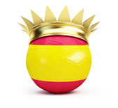 Soccer ball spain gold crown — Stock Photo