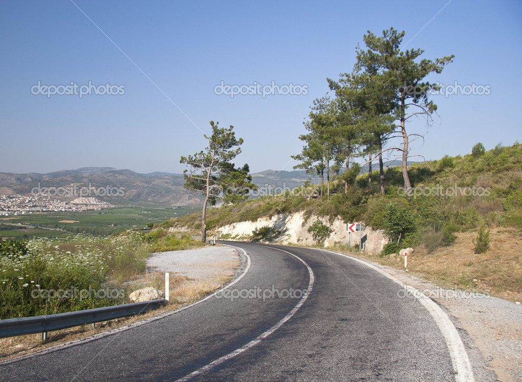 Mountain road in Turkey with dangerous curves  Stock Photo #11706774
