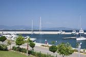 Marina with yachts and boats — Stock Photo
