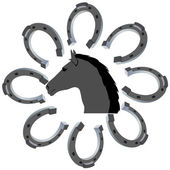 The head of a horse and a horseshoe — Stock Vector
