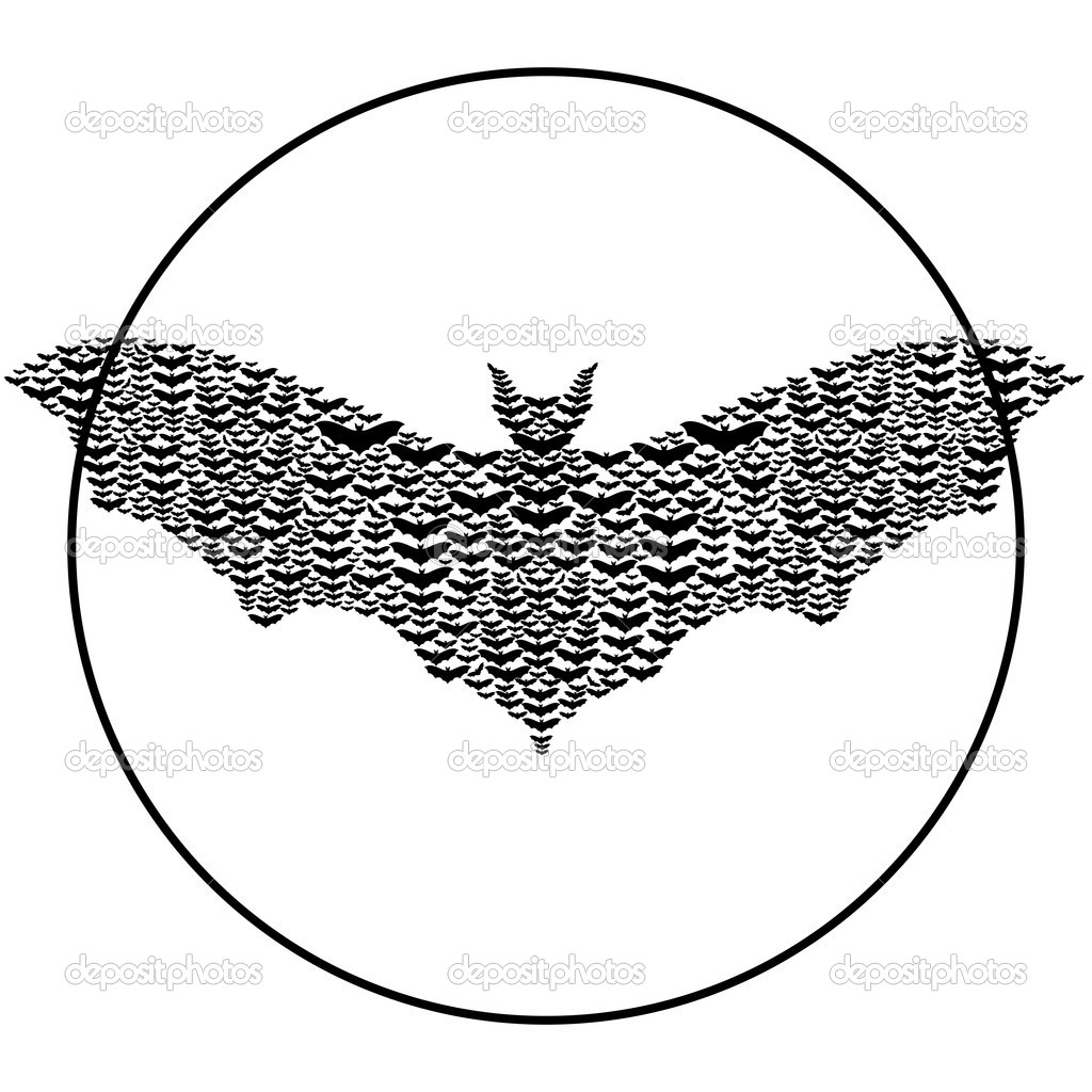 Bats make up the shape of a big bat.Black and white illustration.  Stock Vector #11369751