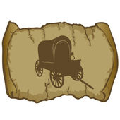 An old wagon and parchment — Stock Vector