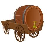 Cart with a keg — Stock Vector