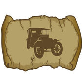Vintage Car and parchment — Stock Vector