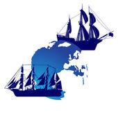 Segelfartyg och mark — Stockvektor
