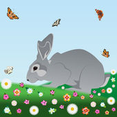 Rabbit on the meadow — Vector de stock
