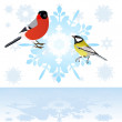 Stock Vector: Bullfinch and tits on snowflake