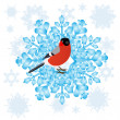 Bullfinch and a snowflake - Stock Vector