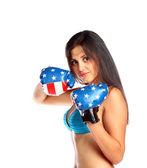 Jovem mulher bonita de boxe — Foto Stock