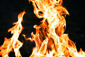 Flames from a fire on a black background — Stock Photo