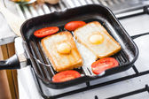Breakfast on pan — Stock Photo