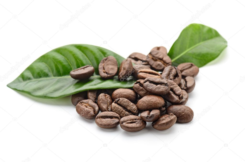 Coffee grains and leaves — Stock Photo #11103779