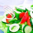 Fresh salad with tomatoes, french bean and cucumbers — Stock Photo