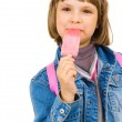 Happy girl with water ice cream — Stock Photo
