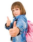 Girl showing thumbs up — Stock Photo