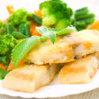 Stock Photo: Fried fish with vegetables