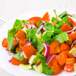 Fresh vegetable salad with basil - Stock Photo