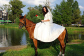 Bride horseback at brown horse — Stock Photo