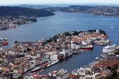 View of Bergen from Mount Floyen, Norway — Foto Stock