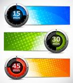 Uppsättning banners med timers — Stockvektor