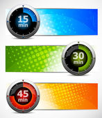 Set of banners with timers — Stock Vector