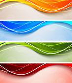Conjunto de banderas ondulados — Vector de stock