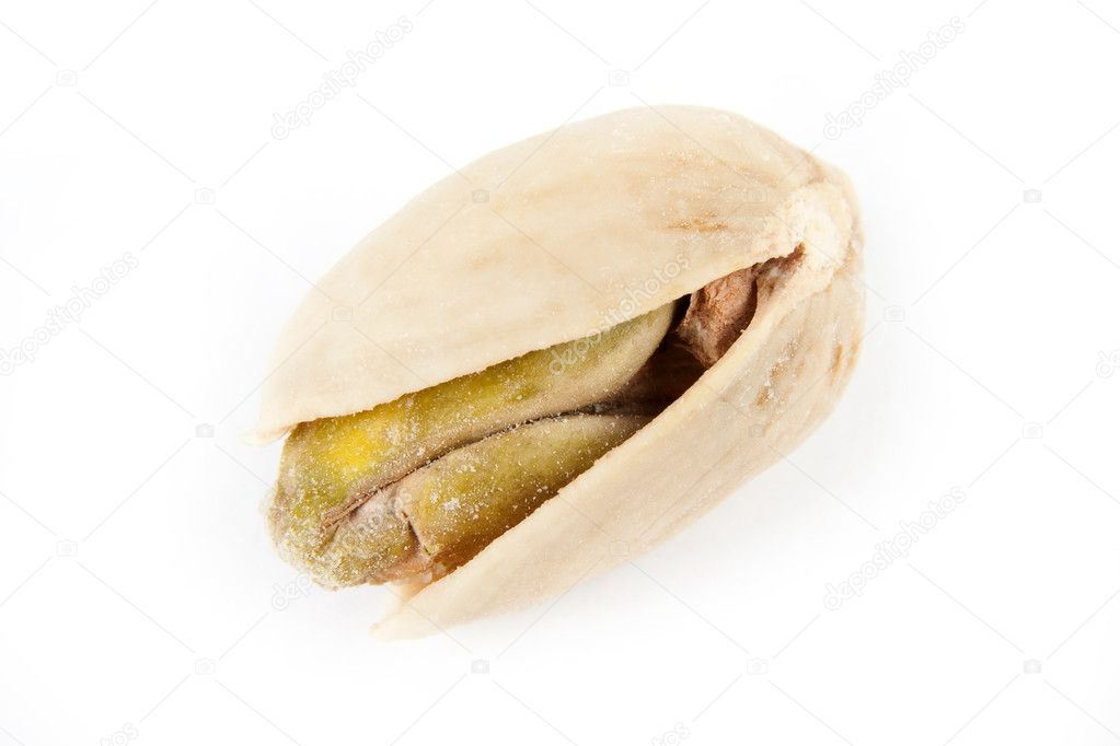 Fresh salted pistachio on a white background — Stock Photo #10781272