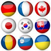 National flag ball set 3 — Stock Vector
