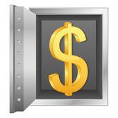 Bank sicher und gold-dollar-symbol — Stockvektor