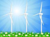 Grassy field and wind generators — Stock Vector