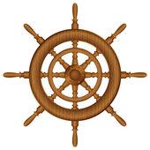 Wooden helm wheel — Stock Vector