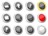 3d-pictogrammen bureau — Stockvector