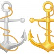 Anchor and rope — Stock Vector