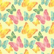Seamless pattern with silhouettes colorful butterflies — Stock Vector