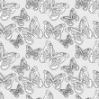 Stock Vector: Seamless pattern with silhouettes butterflies